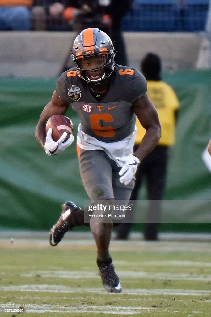 Alvin Kamara #6 of the University of Tennessee Volunteers plays against the Nebraska Cornhuskers during the Franklin American Mortgage Music City Bowl at Nissan Stadium on December 30, 2016 in Nashville, Tennessee.