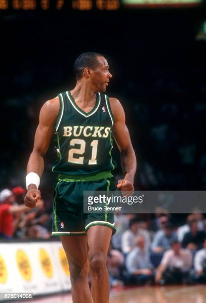 Alvin Robertson of the Milwaukee Bucks walks on the court during Game 3 of the NBA Eastern Division Finals against the Philadelphia 76ers on April 30...
