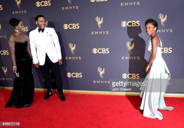 Alvina Stewart actor Anthony Anderson and actor Marsai Martin attend the 69th Annual Primetime Emmy Awards at Microsoft Theater on September 17 2017...