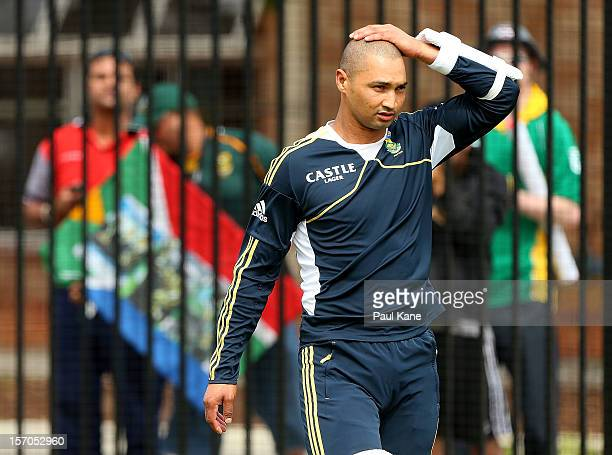 Alviro Petersen looks on after signing autographs for fans during a South Africa Proteas training session at WACA on November 28 2012 in Perth...