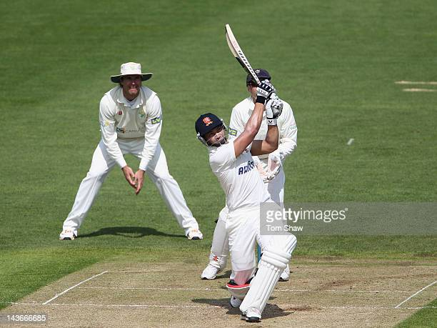 Alviro Petersen of Essex hits out during day one of the LV County Championship division one match between Glamorgan and Essex at SWALEC Stadium on...