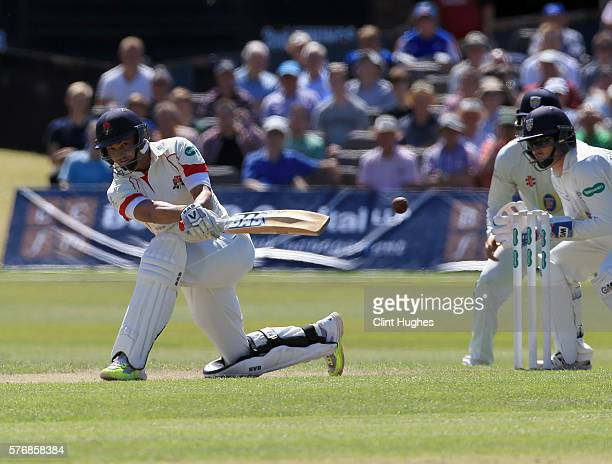 Alviro Petersen of Lancashire bats during day three of the Specsavers County Championship Division One match between Lancashire and Durham at...
