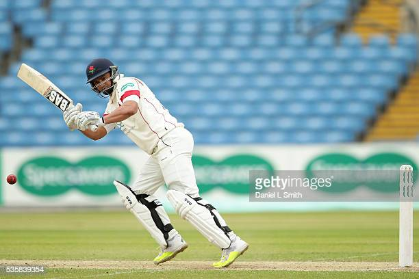 Alviro Petersen of Lancashire bats during day two of the Specsavers County Championship Division One match between Yorkshire and Lancashire at...