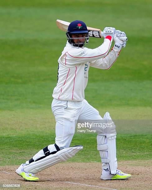 Alviro Petersen of Lancashire cuts the ball during Day One of the Specsavers County Championship match between Somerset and Lancashire at the County...