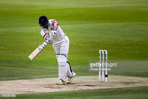 Alviro Petersen of Lancashire hits out duriung day two of the Specsavers County Championship division one match between Midlesex and Lancashire at...