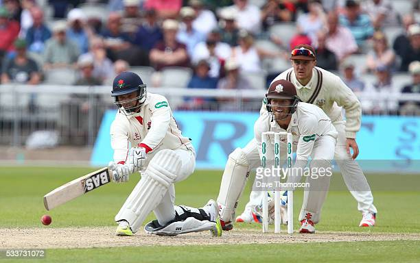 Alviro Petersen of Lancashire plays a shot during the Specsavers County Championship Division One match between Lancashire and Surrey at The Emirates...