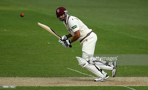 Alviro Petersen of Somerset hits out during the LV County Championship match between Surrey and Somerset at the Kia Oval on April 17 2013 in London...