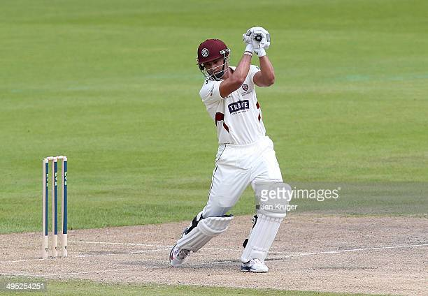 Alviro Petersen of Somerset hits out during the LV County Championship match between Lancashire and Somerset at Old Trafford on June 02 2014 in...