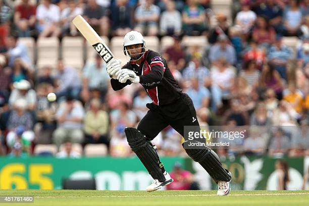 Alviro Petersen of Somerset hits out during the Natwest T20 Blast match between Hampshire and Somerset at the Ageas Bowl on July 6 2014 in...