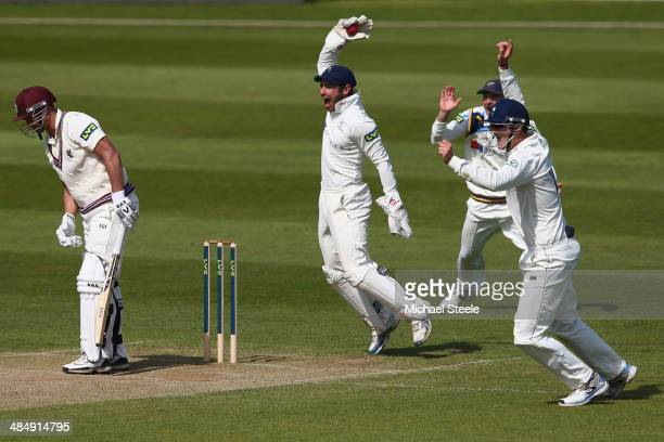 Alviro Petersen of Somerset is caught by wicketkeeper Andrew Hodd of Yorkshire off the bowling of Kane Williamson during day three of the LV County...