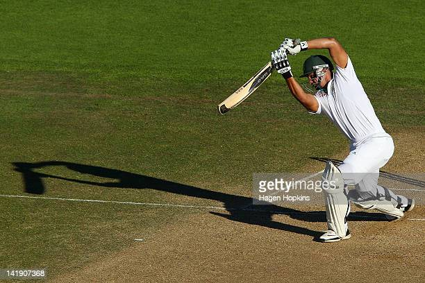 Alviro Petersen of South Africa bats during day four of the Third Test match between New Zealand and South Africa at Basin Reserve on March 26 2012...