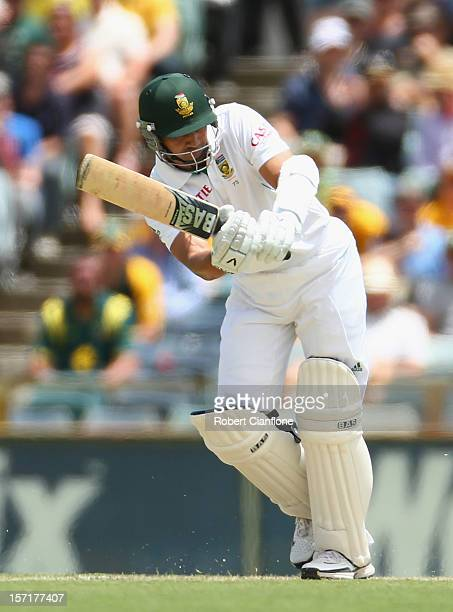 Alviro Petersen of South Africa bats during day one of the Third Test Match between Australia and South Africa at the WACA on November 30 2012 in...