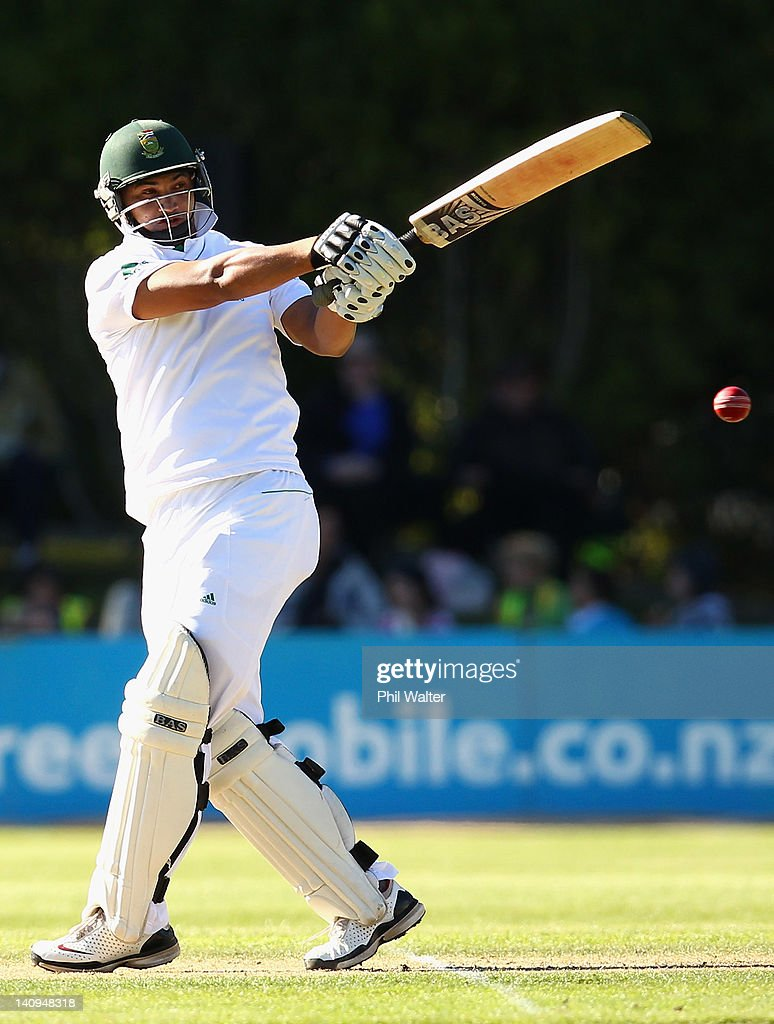 <a gi-track='captionPersonalityLinkClicked' href=/galleries/search?phrase=Alviro+Petersen&family=editorial&specificpeople=4969996 ng-click='$event.stopPropagation()'>Alviro Petersen</a> of South Africa bats during day three of the First Test match between New Zealand and South Africa at the University Oval on March 09, 2012 in Dunedin, New Zealand.