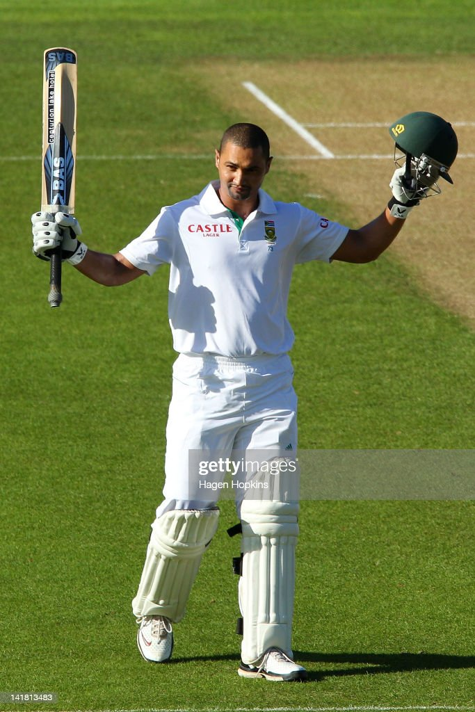 <a gi-track='captionPersonalityLinkClicked' href=/galleries/search?phrase=Alviro+Petersen&family=editorial&specificpeople=4969996 ng-click='$event.stopPropagation()'>Alviro Petersen</a> of South Africa celebrates his century during day three of the Third Test match between New Zealand and South Africa at Basin Reserve on March 25, 2012 in Wellington, New Zealand.