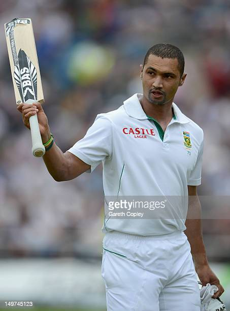Alviro Petersen of South Africa leaves the field after being dismissed by Stuart Broad of England for 182 runs during day two of the 2nd Investec...