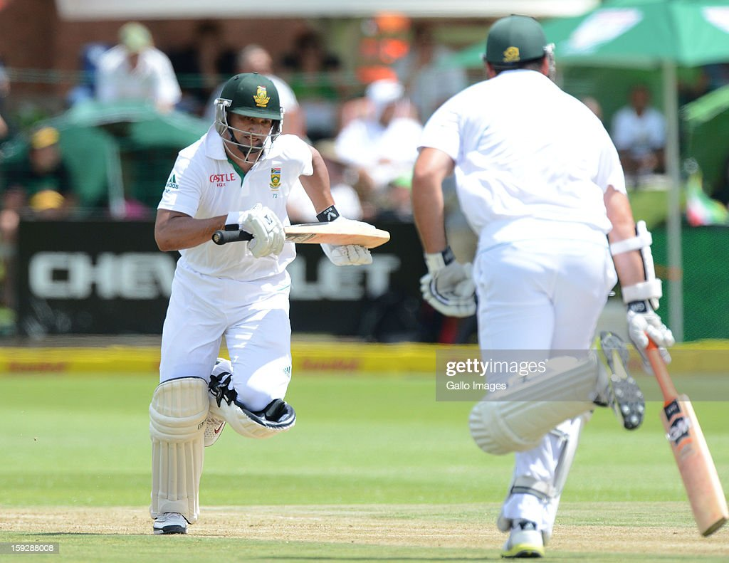 Alviro Petersen of South Africa runs a quick single during day one of the second test match between South Africa and New Zealand at Axxess St Georges on January 11, 2013 in Port Elizabeth, South Africa.