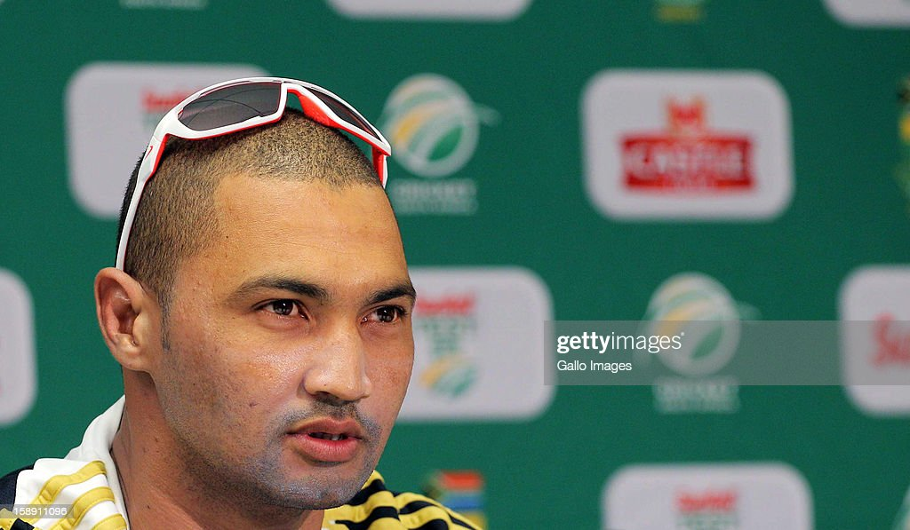 <a gi-track='captionPersonalityLinkClicked' href=/galleries/search?phrase=Alviro+Petersen&family=editorial&specificpeople=4969996 ng-click='$event.stopPropagation()'>Alviro Petersen</a> of the Proteas addresses a press conference during day 2 of the 1st Test between South Africa and New Zealand at Sahara Park Newlands on January 03, 2013 in Cape Town, South Africa.