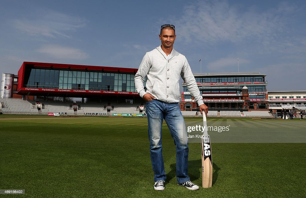 <a gi-track='captionPersonalityLinkClicked' href=/galleries/search?phrase=Alviro+Petersen&family=editorial&specificpeople=4969996 ng-click='$event.stopPropagation()'>Alviro Petersen</a> poses during the Lancashire CCC Photocall at Old Trafford on April 10, 2015 in Manchester, England.