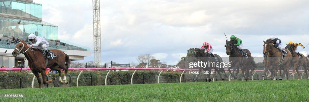 Alward (IRE) ridden by Michael Walker wins the VRC Member Doris Theuma Handicap at Flemington Racecourse on August 12, 2017 in Flemington, Australia.