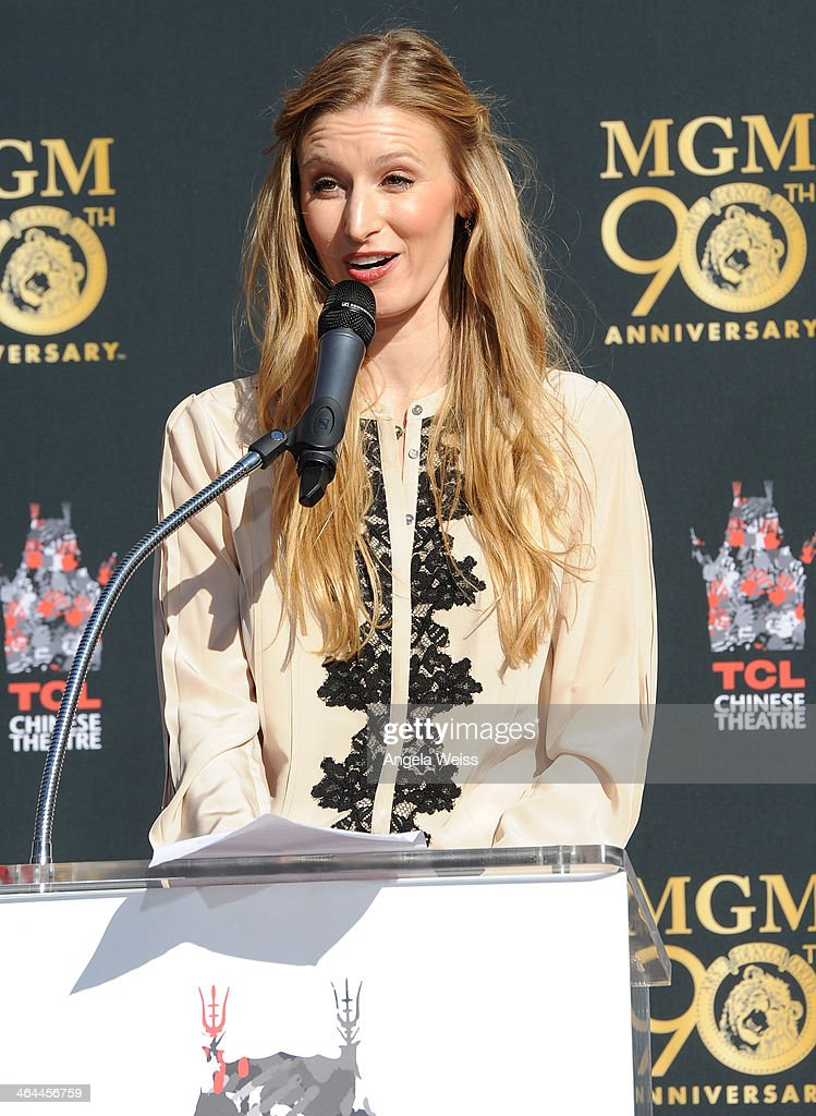 Alwyn Hight Kushner, President & COO, TCL Chinese Theatre speaks at the Metro-Goldwyn-Mayer 90th Anniversary Celebration at TCL Chinese Theatre on January 22, 2014 in Hollywood, California.