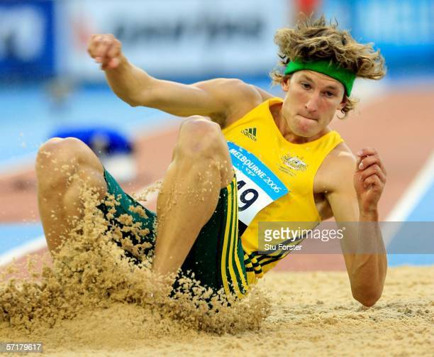 Alwyn Jones of Australia competes during the men's Triple Jump final at the athletics during day ten of the Melbourne 2006 Commonwealth Games at the...