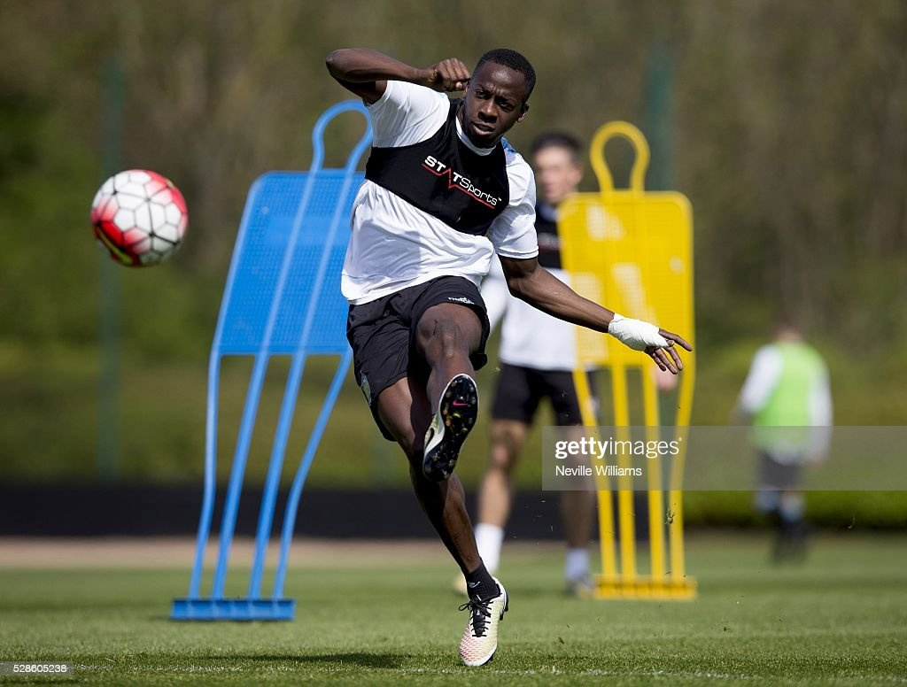Aly Cissokho of Aston Villa in action during a Aston Villa training session at the club's training ground at Bodymoor Heath on May 06, 2016 in Birmingham, England.
