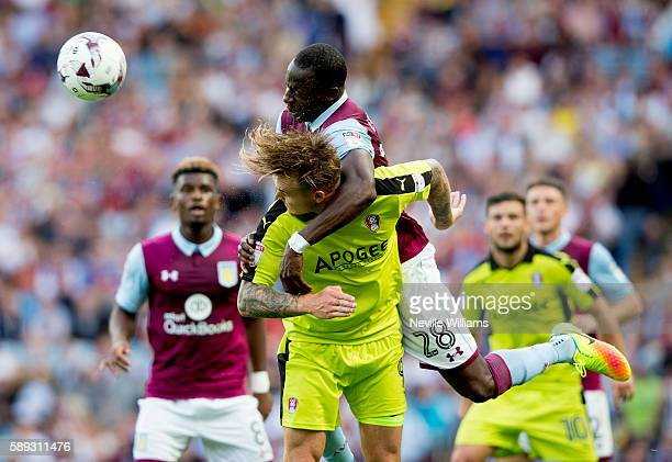 Aly Cissokho of Aston Villa is challenged by Danny Ward of Rotherham United during the Sky Bet Championship match between Aston Villa and Rotherham...