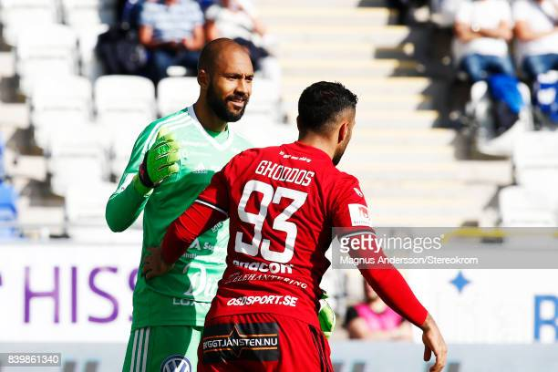Aly Keita goalkeeper and Saman Ghoddos of Oestersunds FK during the Allsvenskan match between IFK Norrkoping and Ostersunds FK at Ostgotaporten on...