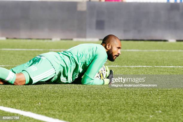 Aly Keita goalkeeper during the Allsvenskan match between IFK Norrkoping and Ostersunds FK at Ostgotaporten on August 27 2017 in Norrkoping Sweden