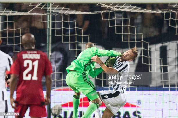 Aly Keita goalkeeper of Oestersunds FK causes a penalty during the UEFA Europa League Qualifying PlayOffs round first leg match between PAOK Saloniki...