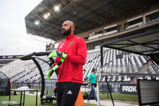 Aly Keita goalkeeper of Oestersunds FK during training ahead of the UEFA Europa League Qualifying PlayOffs round first leg match between PAOK...