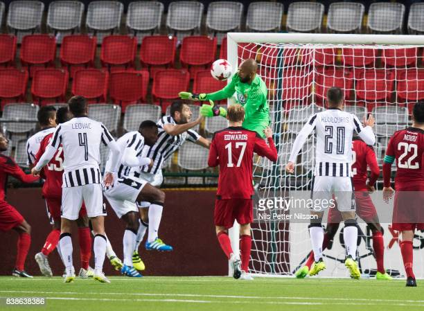 Aly Keita goalkeeper of Oestersunds FK makes a save during the UEFA Europa League Qualifying PlayOffs round second leg match between Oestersunds FK...