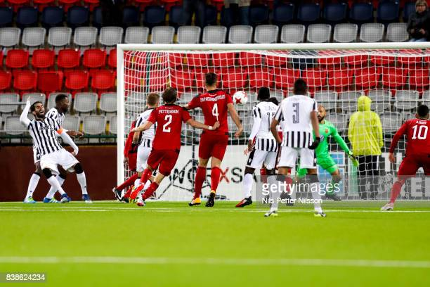Aly Keita goalkeeper of Oestersunds FK reacts during the UEFA Europa League Qualifying PlayOffs round second leg match between Oestersunds FK and...
