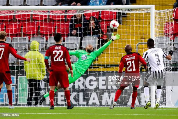 Aly Keita goalkeeper of Oestersunds FK saving the ball during the UEFA Europa League Qualifying PlayOffs round second leg match between Oestersunds...