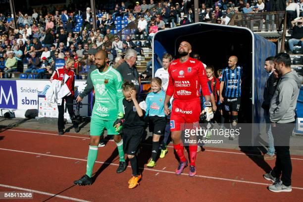 Aly Keita goalkeeper of Ostersunds FK and Joschua Wicks goalkeepeer of IK Sirius FK during the Allsvenskan match between IK Sirius FK and Ostersunds...