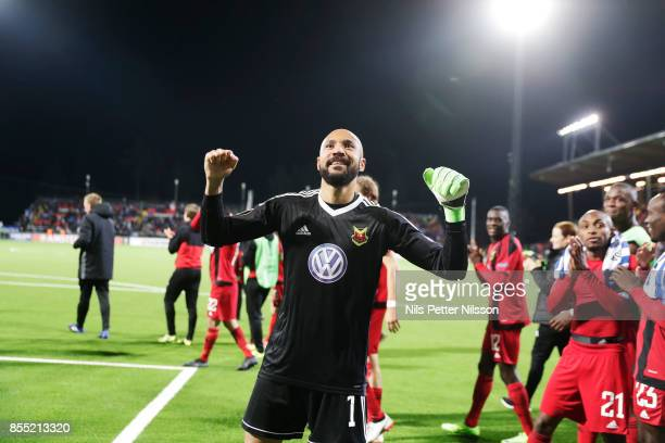 Aly Keita goalkeeper of Ostersunds FK celebrates after the victory during the UEFA Europa League group J match between Ostersunds FK and Hertha BSC...