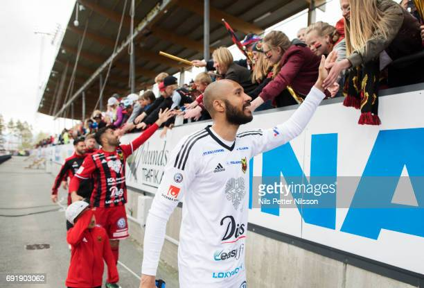 Aly Keita goalkeeper of Ostersunds FK cheers to the fans during the Allsvenskan match between Ostersunds FK and GIF Sundsvall at Jamtkraft Arena on...
