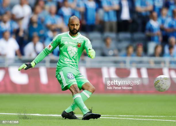 Aly Keita goalkeeper of Ostersunds FK during the Allsvenskan match between Djurgardens IF and Ostersunds FK at Tele2 Arena on July 23 2017 in...