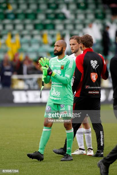 Aly Keita goalkeeper of Ostersunds FK during the Allsvenskan match between GIF Sundsvall and Ostersunds FK at Berners Arena on August 6 2017 in...