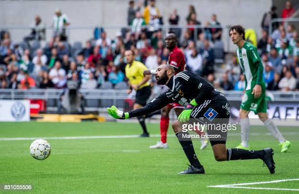 Aly Keita goalkeeper of Ostersunds FK during the Allsvenskan match between Hammarby IF and Ostersunds FK at Tele2 Arena on August 14 2017 in...