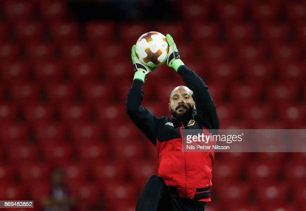 Aly Keita goalkeeper of Ostersunds FK during warm up ahead of the UEFA Europa League group J match between Athletic Bilbao and Ostersunds FK at...