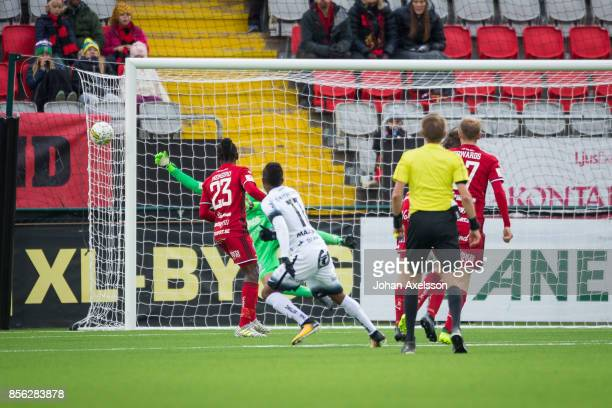 Aly Keita goalkeeper of Ostersunds FK makes a save after Gustav Berggren of BK Hacken soots during the Allsvenskan match between Ostersunds FK and BK...