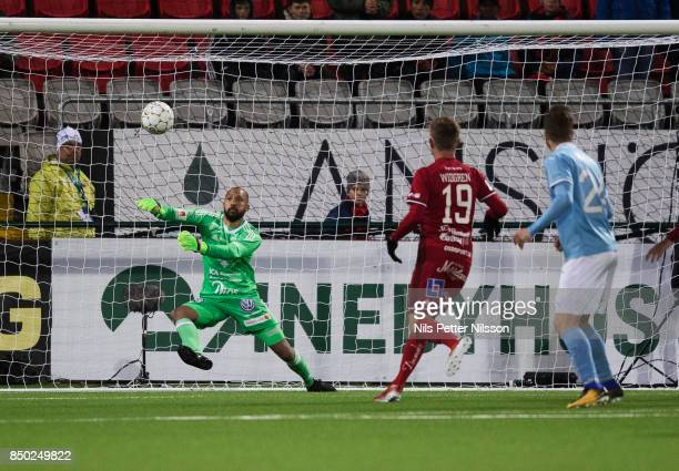 Aly Keita goalkeeper of Ostersunds FK makes a save during the Allsvenskan match between Ostersunds FK and Malmo FF at Jamtkraft Arena on September 20...