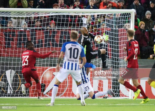 Aly Keita goalkeeper of Ostersunds FK makes a save during the UEFA Europa League group J match between Ostersunds FK and Hertha BSC at Jamtkraft...