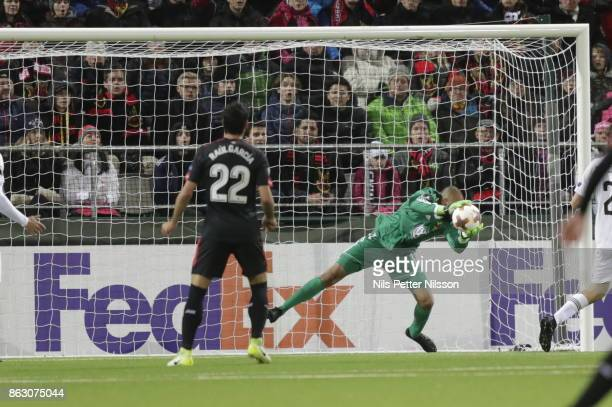 Aly Keita goalkeeper of Ostersunds FK makes a save during the UEFA Europa League group J match between Ostersunds FK and Athletic Bilbao at Jamtkraft...