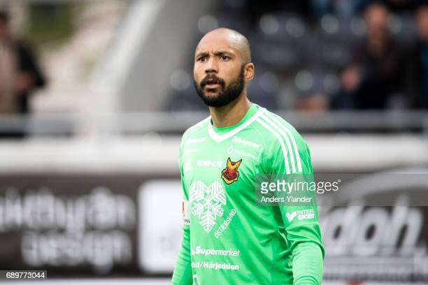 Aly Keita goalkeeper of Ostersunds FK reacts during the Allsvenskan match between BK Hacken and Ostersunds FK at Bravida Arena on May 29 2017 in...