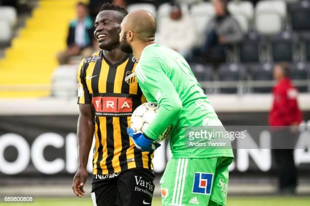 Aly Keita goalkeeper of Ostersunds FK talks to Alhassan Kamara of BK Hacken during the Allsvenskan match between BK Hacken and Ostersunds FK at...