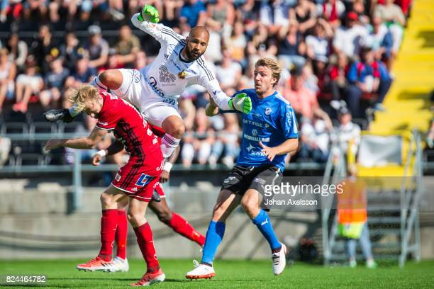 Aly Keita of Ostersunds FK and Curtis Edwards of Ostersunds FK during the Allsvenskan match between Ostersunds FK and Halmstad BK at Jamtkraft Arena...