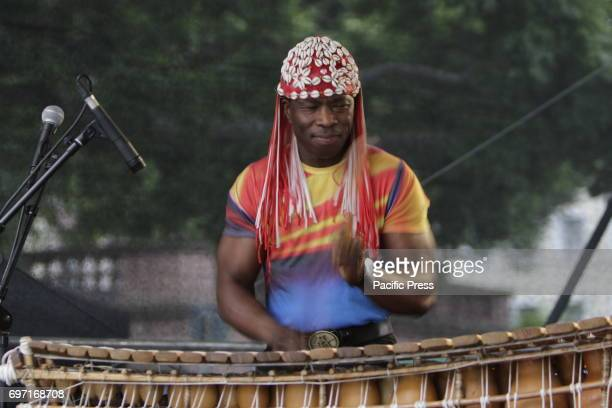 Aly Keita plays the balafon live on stage at the 2017 Jazz and Joy Festival in Worms in Germany