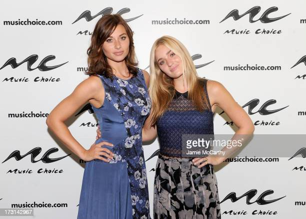 Aly Michalka and Amanda 'AJ' Michalka visit 'UA' at Music Choice on July 8 2013 in New York City